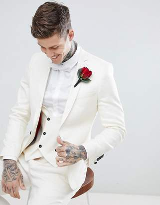 Twisted Tailor Wedding Super Skinny Suit Jacket In Cream Linen