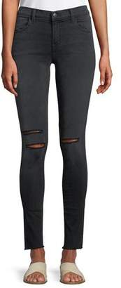 J Brand 620 Mid-Rise Super Skinny Jeans with Ripped Knees