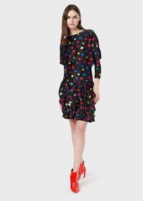 Giorgio Armani Polka-Dot Satin Crepe Dress With Flounced Skirt