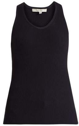 Tibi Scoop Neck Ribbed Knit Tank Top - Womens - Navy
