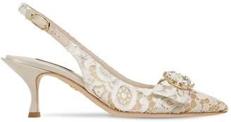 Dolce & Gabbana 60mm Lori Crystals Lace Slingback Pumps