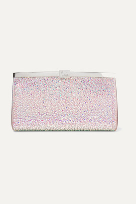 Christian Louboutin Palmette Crystal-embellished Satin Clutch - Silver
