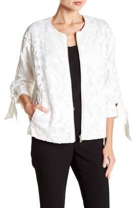 Badgley Mischka Tie Sleeve Lace Jacket