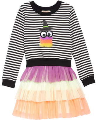 Truly Me Fuzzy Monster Sweatshirt & Tulle Dress