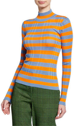 Christian Wijnants Kamia Striped Turtleneck Ribbed Sweater