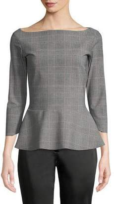 Chiara Boni Niky Plaid Peplum Top