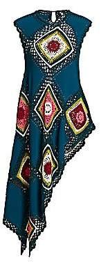 Oscar de la Renta Women's Sleeveless Crotchet Asymmetric Top