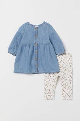 H&M Denim dress and leggings