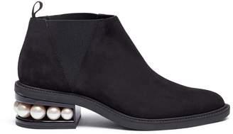 Nicholas Kirkwood 'Suzi' faux pearl heel suede Chelsea booties