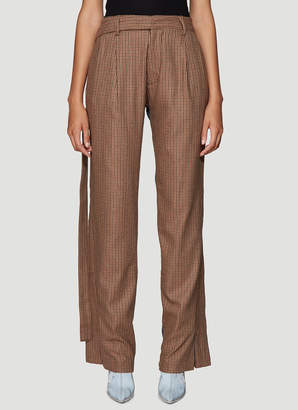 Unravel Project Wool Blend and Denim Wide Leg Pants in Brown