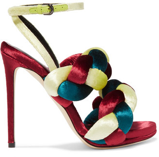 Marco De Vincenzo - Braided Velvet Sandals - Claret $840 thestylecure.com