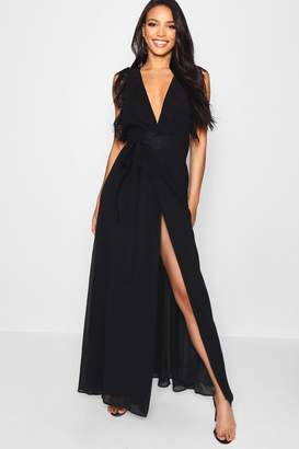 boohoo Lace Detail Wrap Maxi Dress