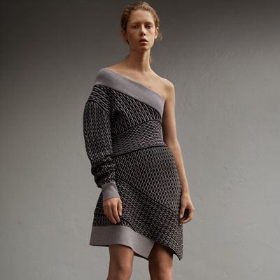 Burberry Burberry One-shoulder Cable Knit Wool Blend Dress
