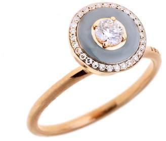 Selim Mouzannar Grey Enamel and Diamond Ring - Rose Gold