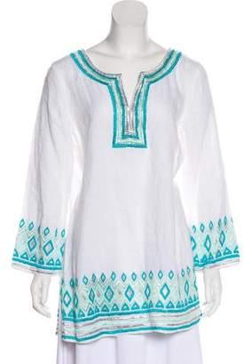 Calypso Embellished Linen Tunic