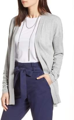 Halogen Ruched Sleeve Cardigan (Regular & Petite)