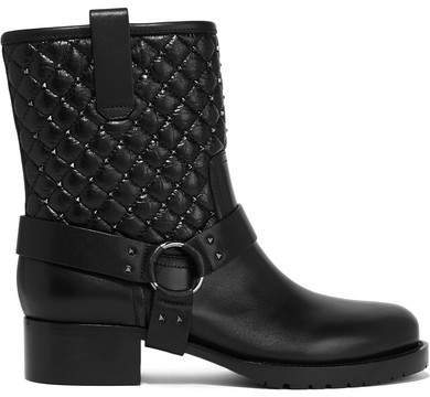 Valentino - Rockstud Spike Quilted Leather Biker Boots - Black