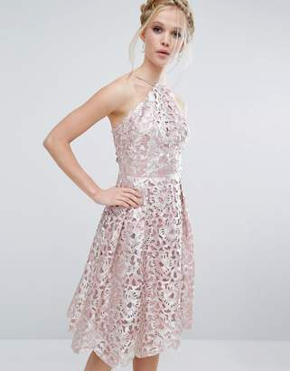 Chi Chi London Cutwork Midi Dress in Metallic $103 thestylecure.com