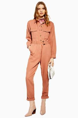 Topshop Womens Belted Utility Boiler Suit - Rose