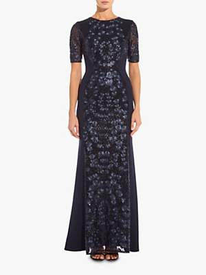 Adrianna Papell Knit Sequin Maxi Dress, Midnight