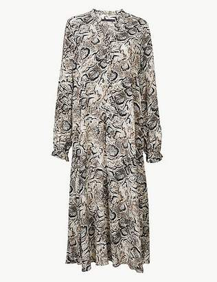 Marks and Spencer Animal Print Long Sleeve Relaxed Midi Dress