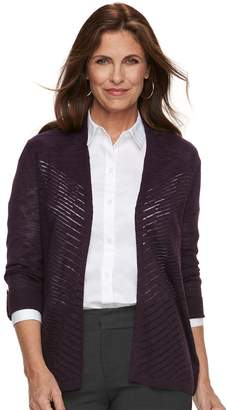 Croft & Barrow Petite Chevron Stitch Open-Front Cardigan