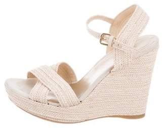 Stuart Weitzman Straw Wedge Sandals