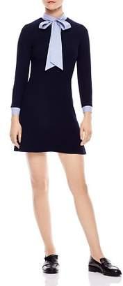 Sandro Jacinta Mixed Media Mini Dress