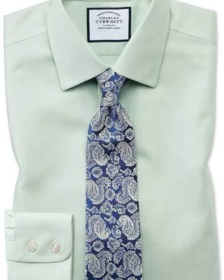 Charles Tyrwhitt Slim fit non-iron step weave green shirt