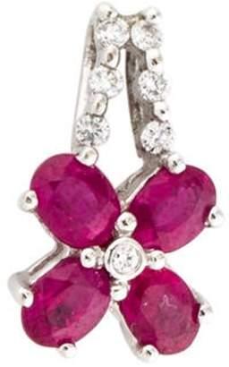 18K Ruby & Diamond Flower Pendant white 18K Ruby & Diamond Flower Pendant
