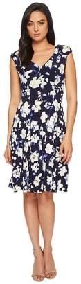 London Times Printed Matte Jersey Scatter Stem Dress Women's Dress