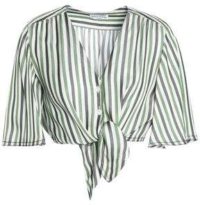 Sonia Rykiel Cropped Knotted Striped Pique Top