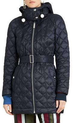 Burberry Lightweight Diamond Quilted Coat w/ Detachable Hood