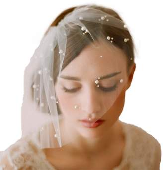 Cereoth bridal birdcage bridal veil with pearl and comb