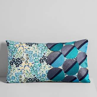 west elm Embroidered Dot Floral Pillow Cover - Midnight
