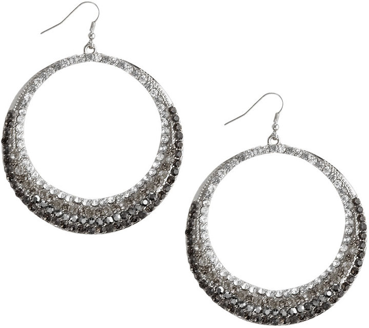 Paved Rhinestone Hoop Earrings