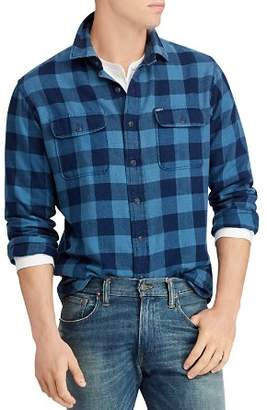 Polo Ralph Lauren Polo Indigo Plaid Flannel Classic Fit Workshirt