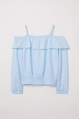 H&M Open-shoulder Blouse - Blue