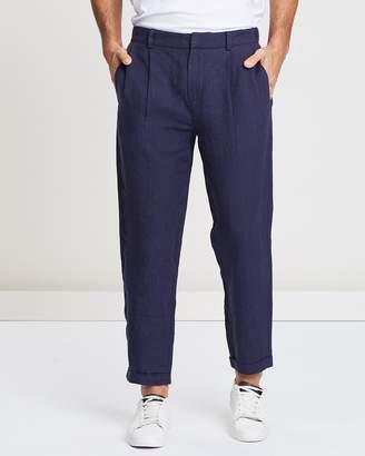 Mens Double Pleated Trousers Shopstyle Australia
