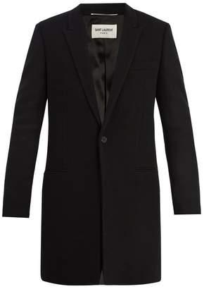 Saint Laurent Peak-lapel wool-blend overcoat