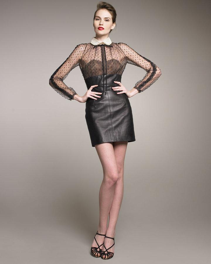 Valentino Leather/Swiss Dot Combo Dress