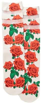 Free Press Floral & Mesh Inset Socks