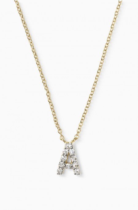 Covet Pave Initial Necklace - Yellow Gold