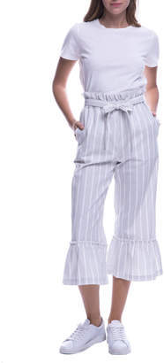ENGLISH FACTORY Striped Crop Flare Paperbag Pants