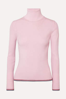 Thom Browne Ribbed Striped Wool-blend Turtleneck Sweater - Baby pink