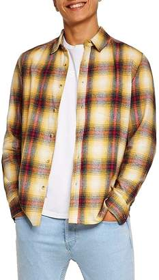 Topman Long Sleeve Classic Fit Checked Shirt
