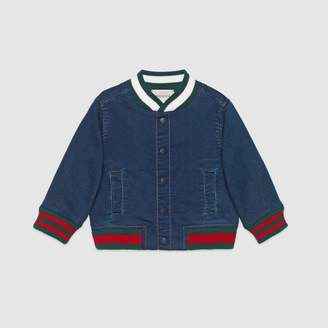 Gucci Baby jersey denim bomber jacket with Web
