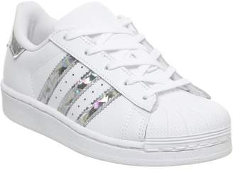 a1e55b1cfb8 adidas Superstar Kids 10-2 Trainers Metallic Silver White