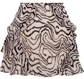 Derek Lam 10 Crosby Ruffled Printed Silk-Chiffon Mini Skirt