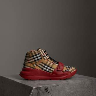 Burberry Vintage Check High-top Sneakers , Size: 45, Red